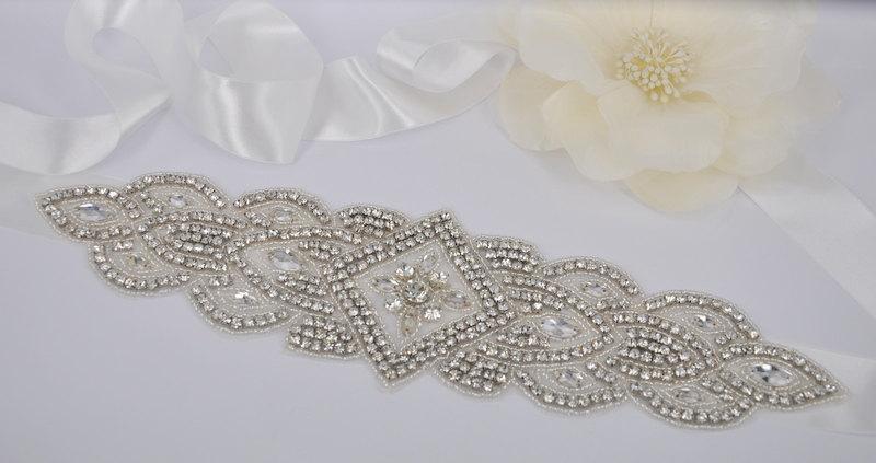 Mariage - Gabriela - Vintage Style Rhinestone Crystals Wedding Belt, Sash