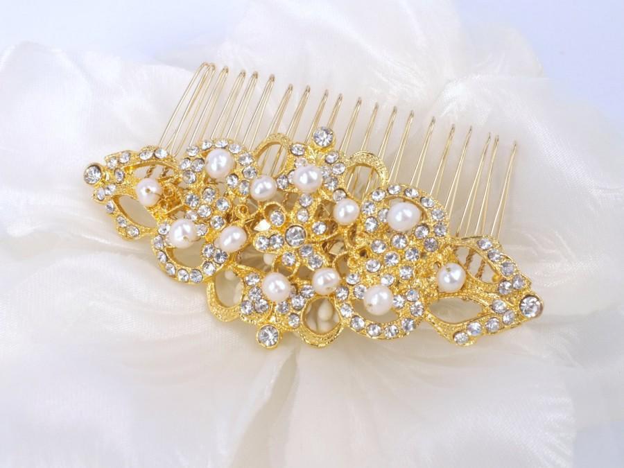 Wedding - Natasha - Gold Vintage style  Rhinestone and Freshwater Pear  Bridal Wedding Comb