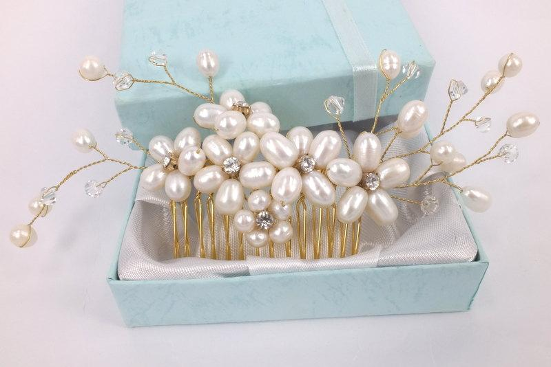 Mariage - Golden Spring - Freshwater Pearl Swarovski Crystal and Rhinestone Bridal Comb
