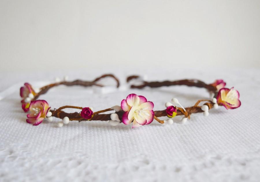 Mariage - Cherry Blossom Flower Crown, bridal flower crown, wedding hair accessories, flower headpiece, wedding flower crown, woodland wedding - EVE