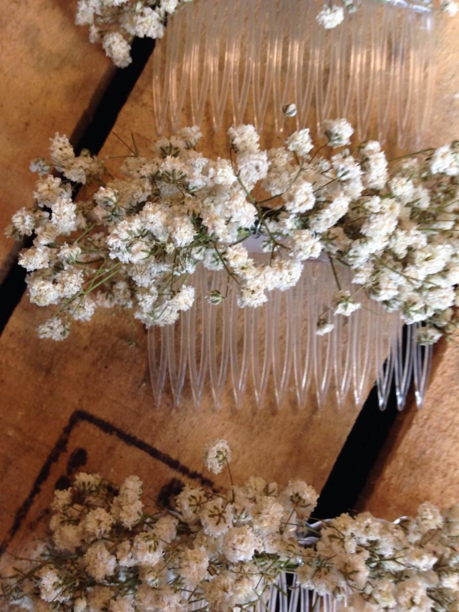 Dried Gypsophila Baby S Breath Las Hair Comb Slide Flowers Wedding Rustic Boho