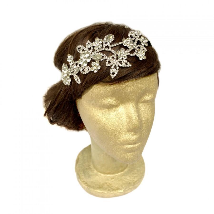 Mariage - Flower Rhinestone Headpiece, Bridal Rhinestone Hair Bandeau, Crystal Headwrap, Bridal Hair Accessories, Wedding Headband, Downtown Abbey