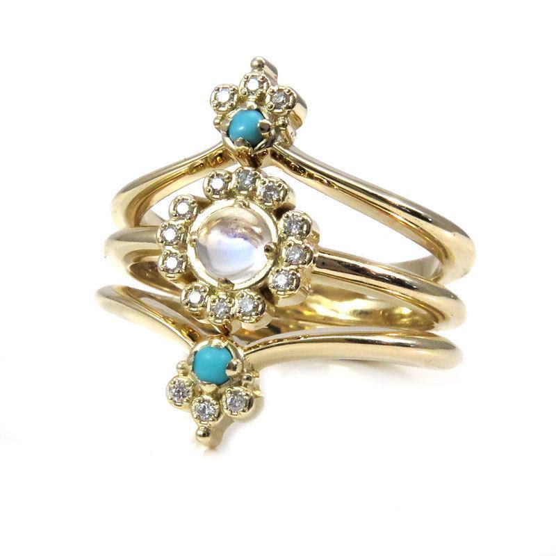 Свадьба - Art Deco Boho Engagement Ring Set with Moonstone, Turquoise and Diamonds - Yellow, Rose or Palladium White Gold