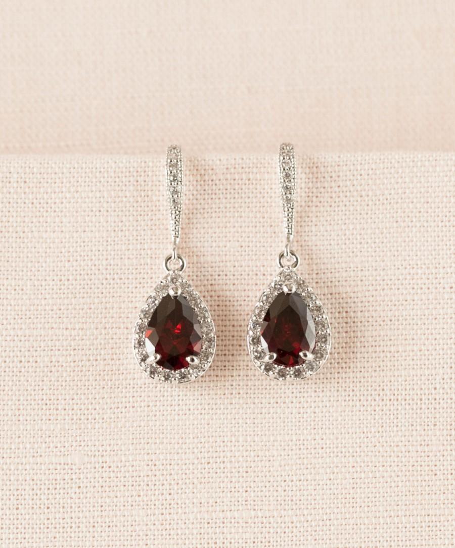 Свадьба - Crystal Bridal earrings  Garnet Wedding jewelry Red Swarovski Crystal Wedding earrings Bridal jewelry, Ariel Red Drop Earrings
