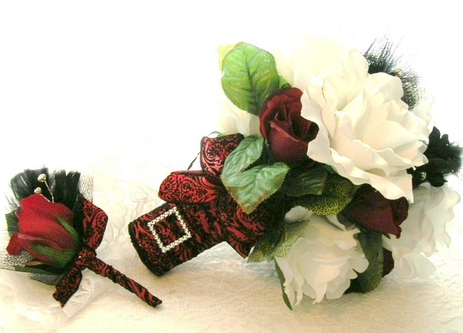 Hochzeit - 50% OFF COUPON CODE, Bridal Bouquet in White and Red Roses, Black Feather and Rhinestone Accents and Red and Black Damask Ribbon