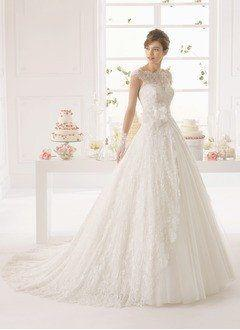 Wedding - A-Line/Princess Scoop Neck Court Train Tulle Wedding Dress With Appliques Lace Flower(s)