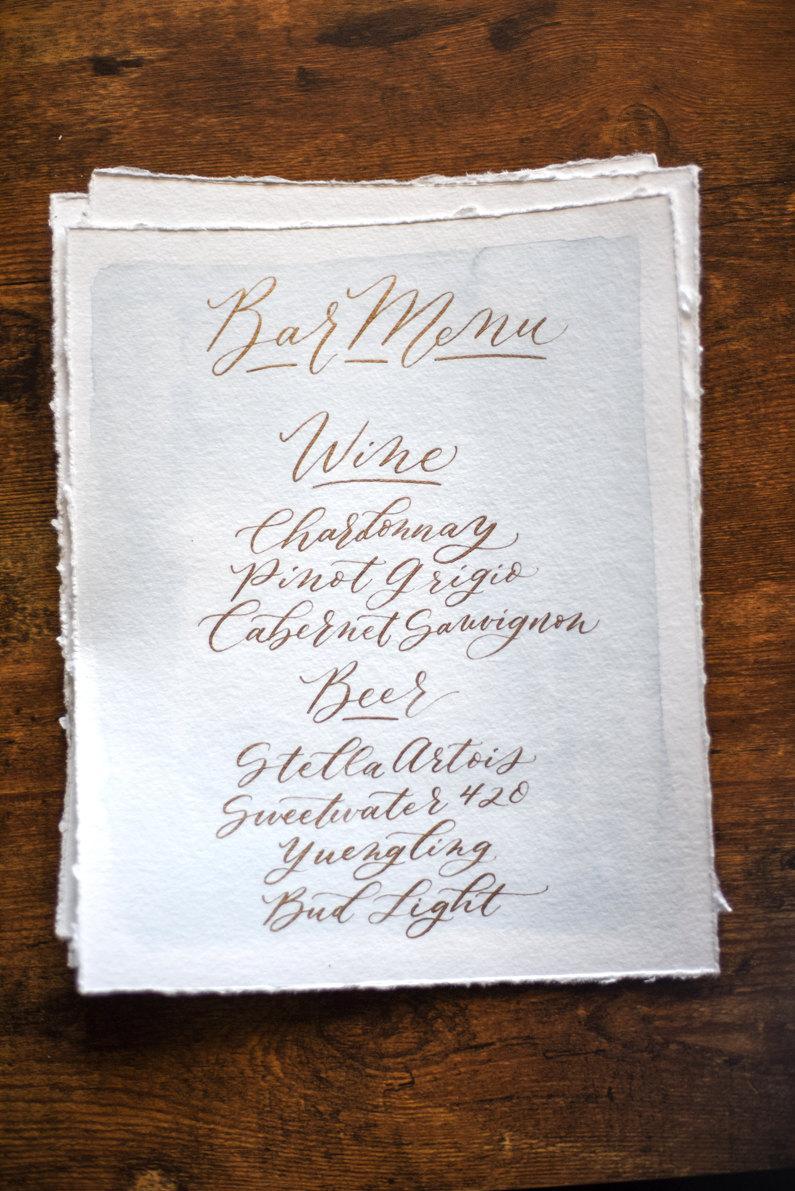 Watercolor Wedding Drink / Bar Menu Signs In Modern Calligraphy ...