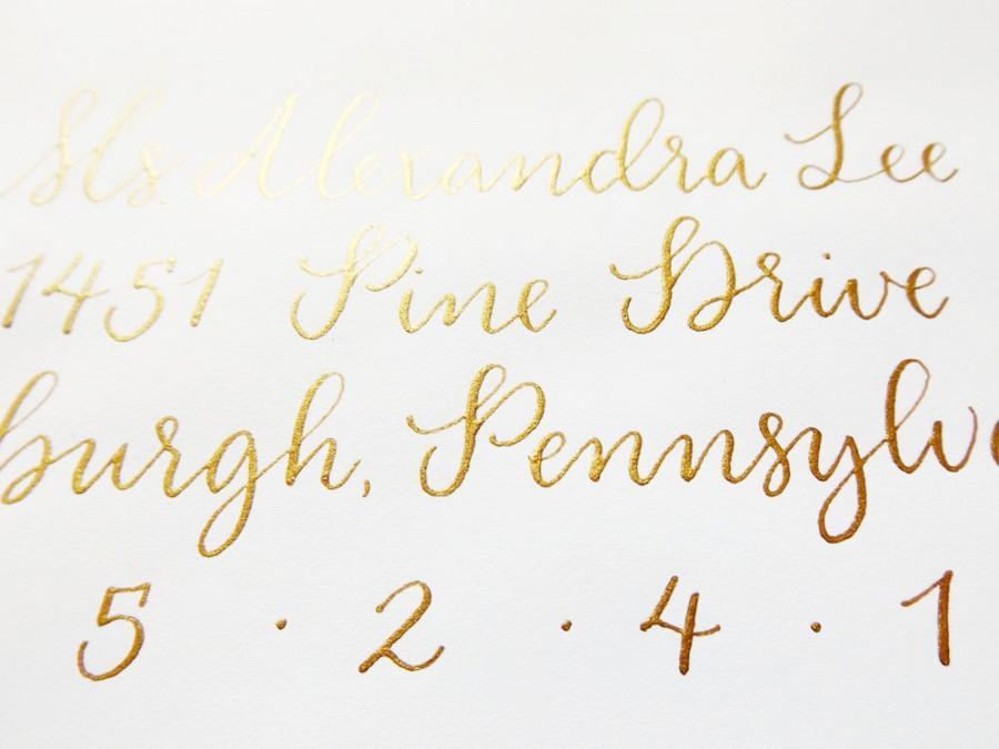 Wedding - Wedding Calligraphy Envelope Addressing - Gold Modern Calligraphy - Wedding Invitations - Manitou Springs Style
