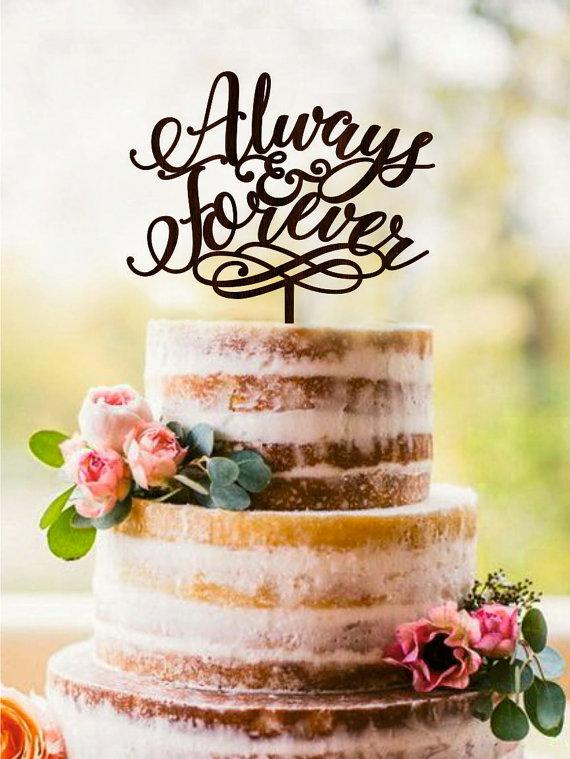 Hochzeit - Wedding Cake Topper Always & Forever Unique Wedding Cake Topper Wood Rustic Cake Topper Gold cake Topper