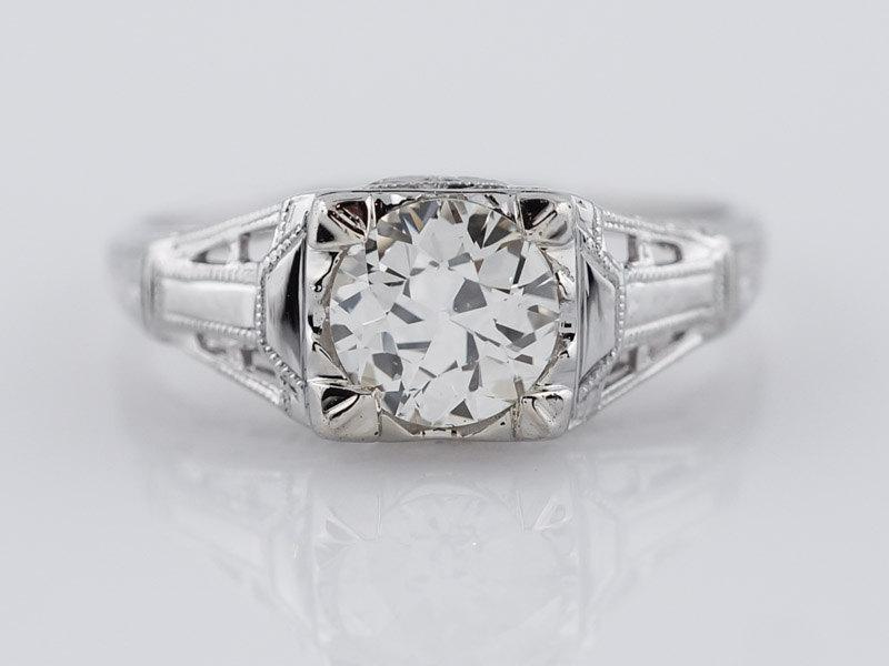 Mariage - Antique Engagement Ring Art Deco .79 ct Old European Cut Diamond in 18K White Gold