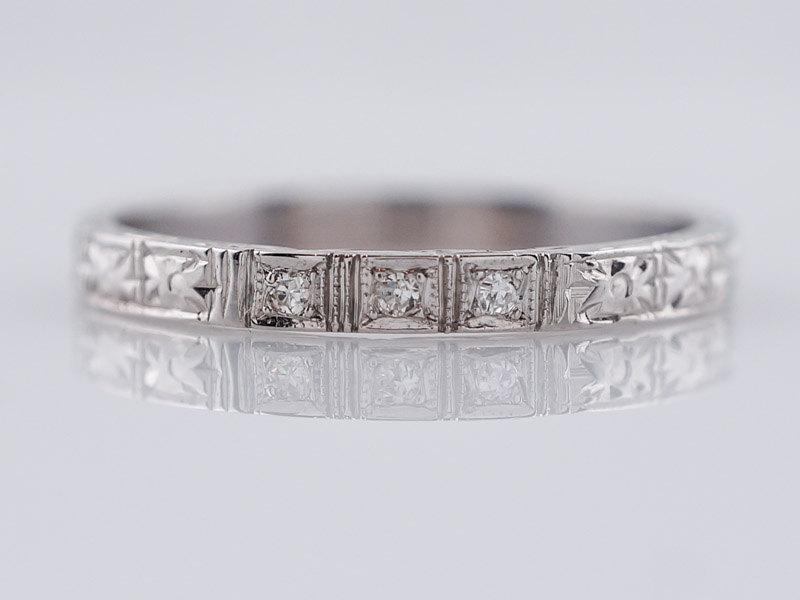 Mariage - Antique Wedding Band Art Deco .03ct Single Cut Diamonds in 18k White Gold