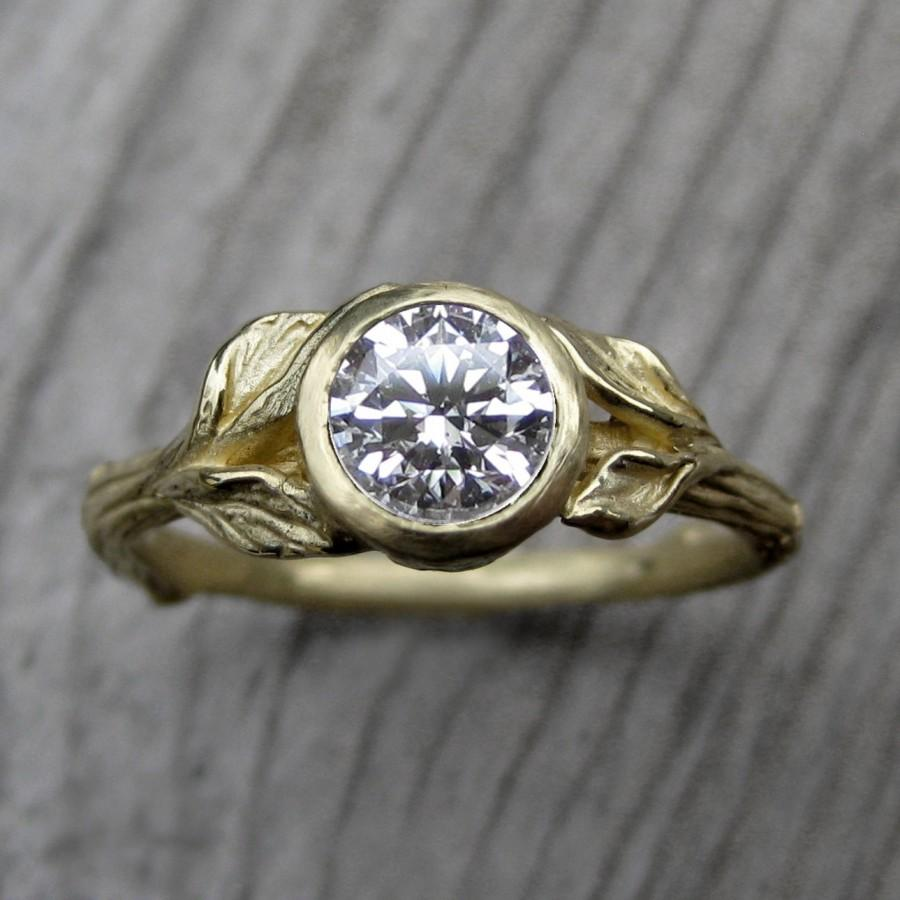 Mariage - Moissanite Twig & Leaf Engagement Ring: White, Yellow, or Rose Gold; Recycled Gold; Forever Brilliant ™
