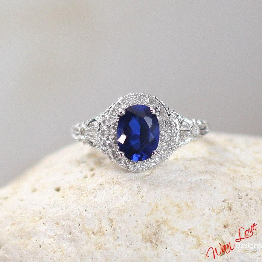 Mariage - Blue Sapphire Filigree Milgrain Solitaire Oval Engagement Ring 1.5 2 ct 8x6mm 14k 18k White Yellow Rose Gold-Platinum-Wedding-Anniversary