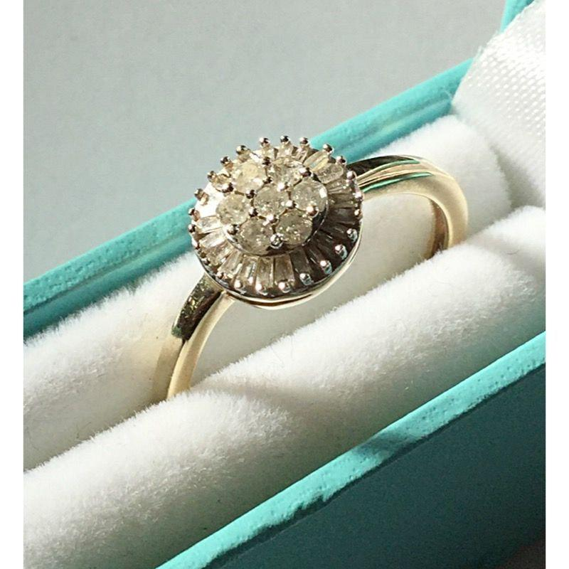 Wedding - Vintage 9ct Gold Diamond Cluster Ring.