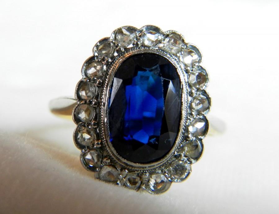 Mariage - Sapphire Ring Antique Sapphire Ring Natural 3.0 Carat Sapphire  0.30cttw rose cut Diamonds 18k Yellow Gold Platinum Beautiful French Design