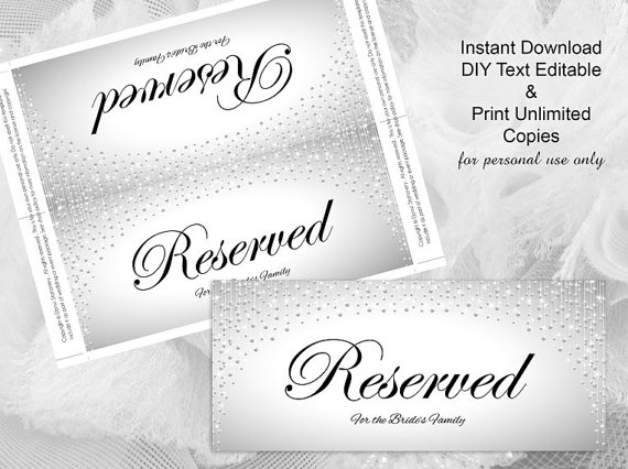 Diy Printable Wedding Reserved Sign Template