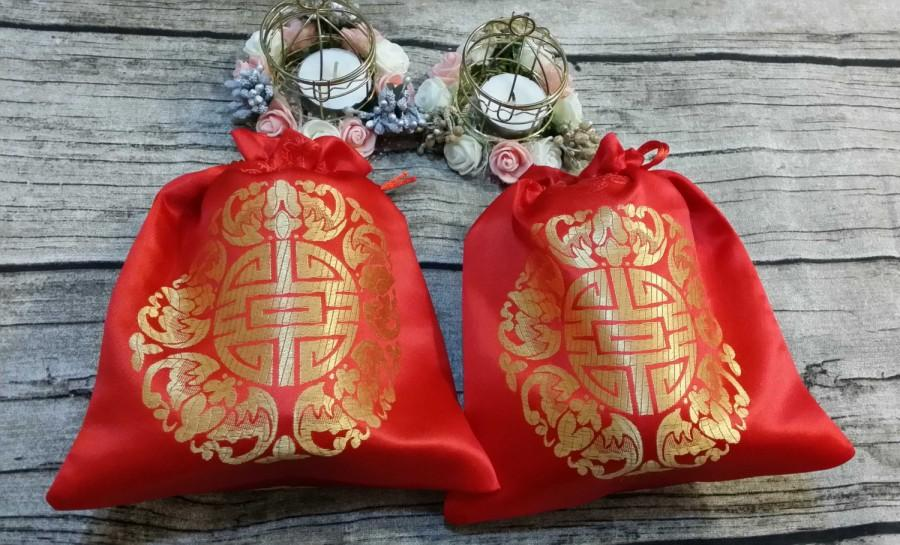 Mariage - 2 Double Happiness Bags ,Wedding Favor Bags, Gift Drawstring Bags