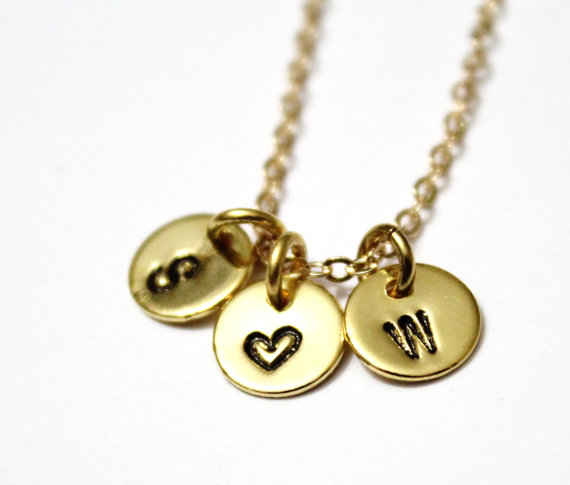 Wedding - Initial Necklace, Alphabet Necklace, Initial Heart Necklace, Love Initial Necklace, Gold Love Necklace, Silver and gold Initial Necklace