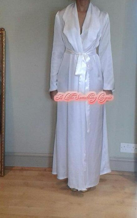 Wedding - silk bridal robe dressing gown wedding day robe wedding robe silk bridal robe long silk satin white silk white bridal robe house coat
