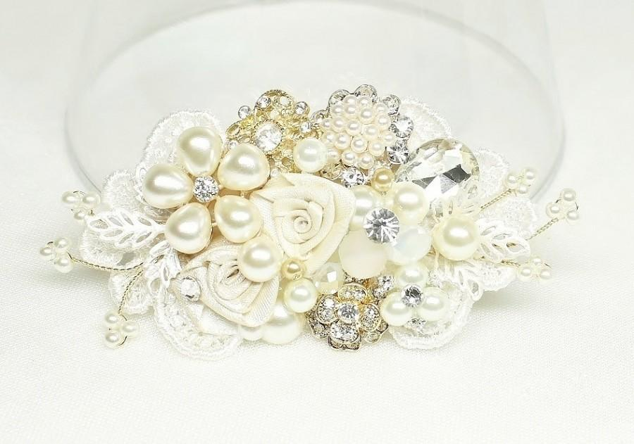 Mariage - Bridal Comb-Ivory Bridal Hair Comb- Bridal Hair Accessories- Ivory Wedding Hair Accessories- Bridal Hairpiece-Brass Boheme
