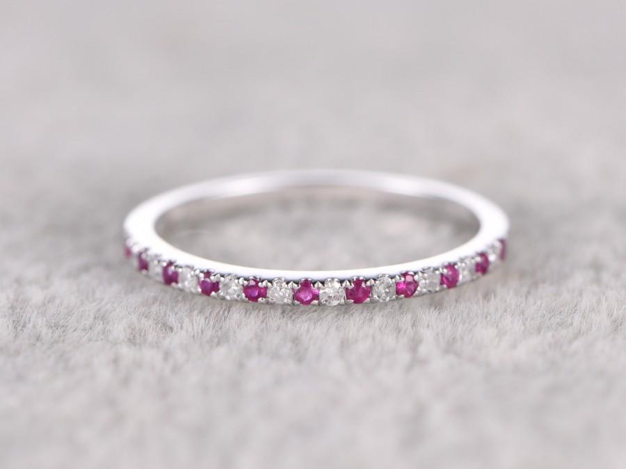 زفاف - Thin design,Ruby Diamond Wedding Ring,14K White gold,Anniversary Ring,Half Eternity Band,stackable ring,milgrain,Matching band,Micro pave