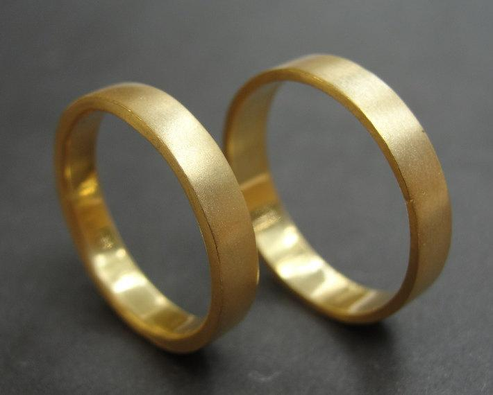 Mariage - Wedding Band Set , Gold Wedding Rings , Wedding Ring Set , His and Hers Wedding Rings , Matching Wedding Bands