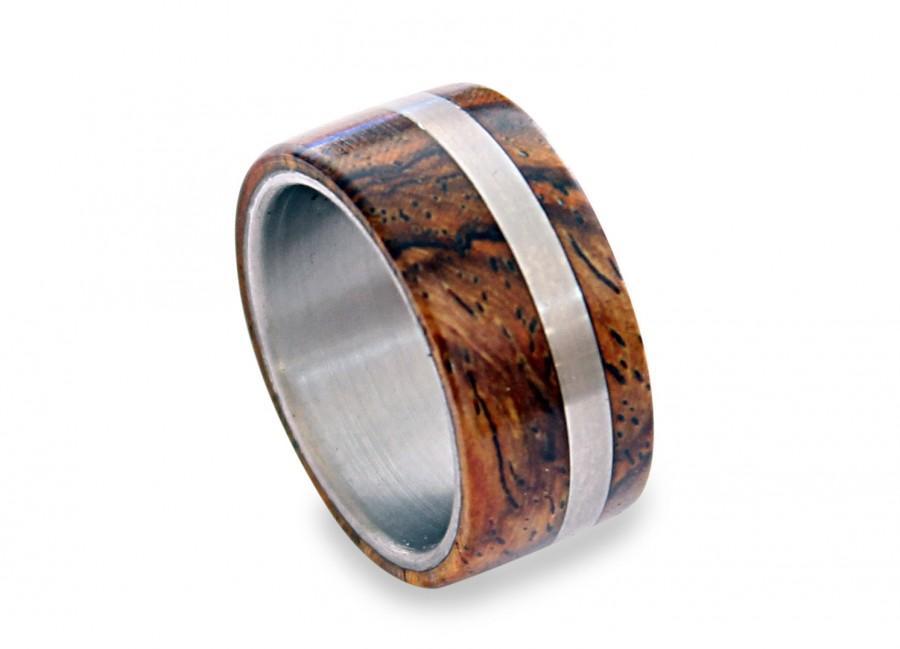 Mariage - Titanium Mens Ring, Off-Center Titanium Ring With Cocobolo Wood Inlays