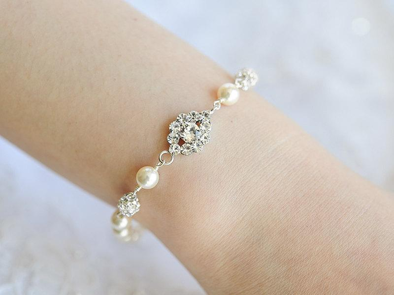 Wedding - Pearl Bridal Bracelet, Crystal Wedding Bracelet, Oval Rhinestone Bracelet, Swarovski Pearl Bracelet, Art Deco Wedding Bridal Jewelry, TACIE