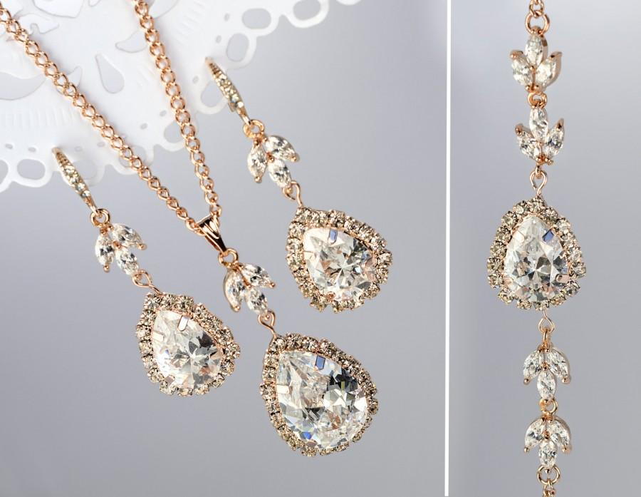 Rose Gold Jewelry Set Bridal Earrings Necklace Bracelet Bridesmaid Party Gift