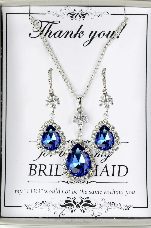 Свадьба - blue bridal earrings, navy bridesmaid, blue jewelry, blue drop earrings, navy blue earrings, royal blue earring, sapphire earring, dark blue