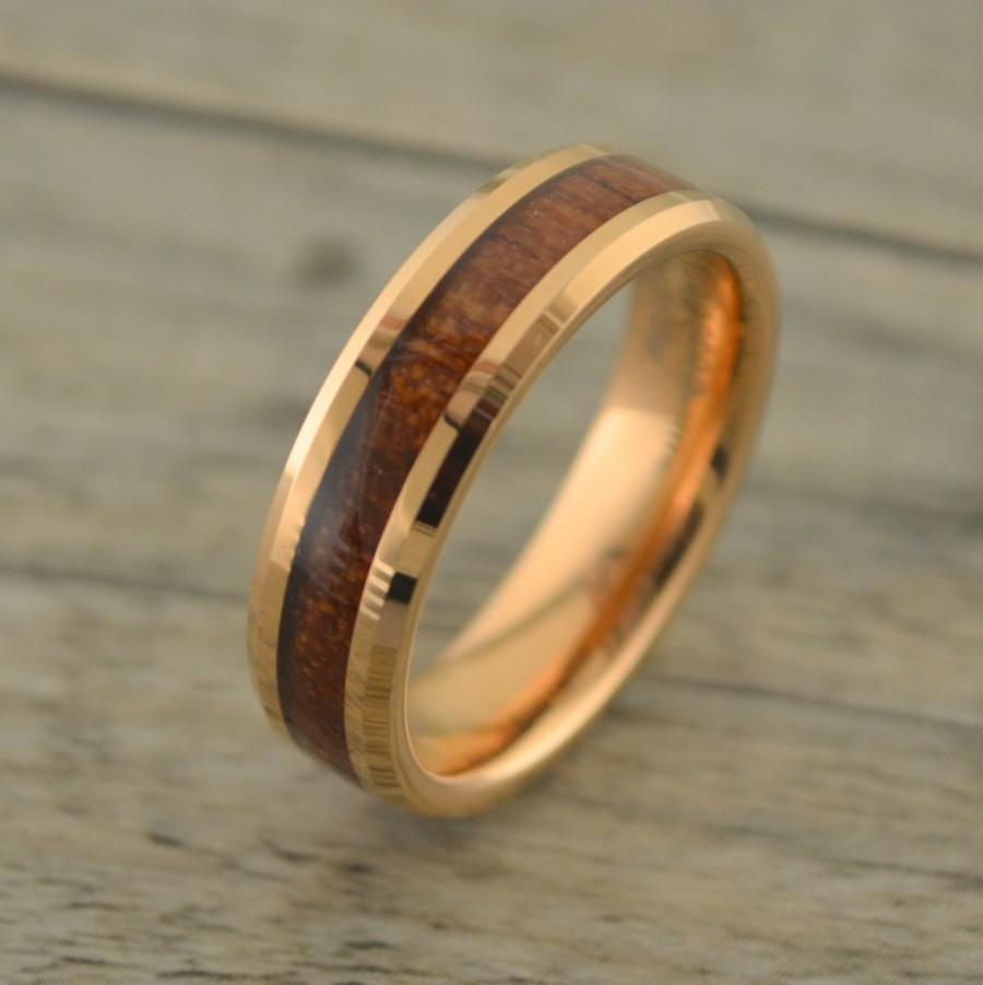 Rose Gold With Hawaiian Koa Wood Inlay Men S Wedding Band Tungsten Ring Anniversary Theme 6mm