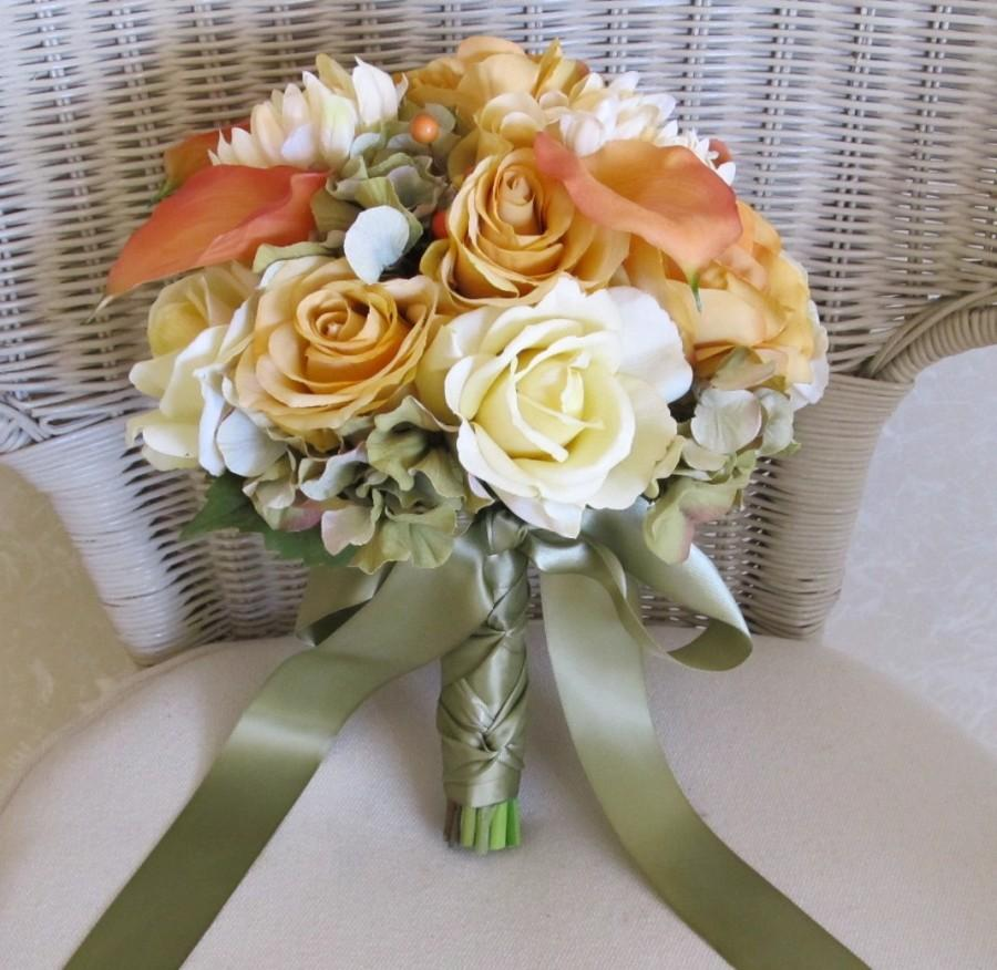 Свадьба - Fall bridal bouquet with real touch yellow roses and rust calla lillies