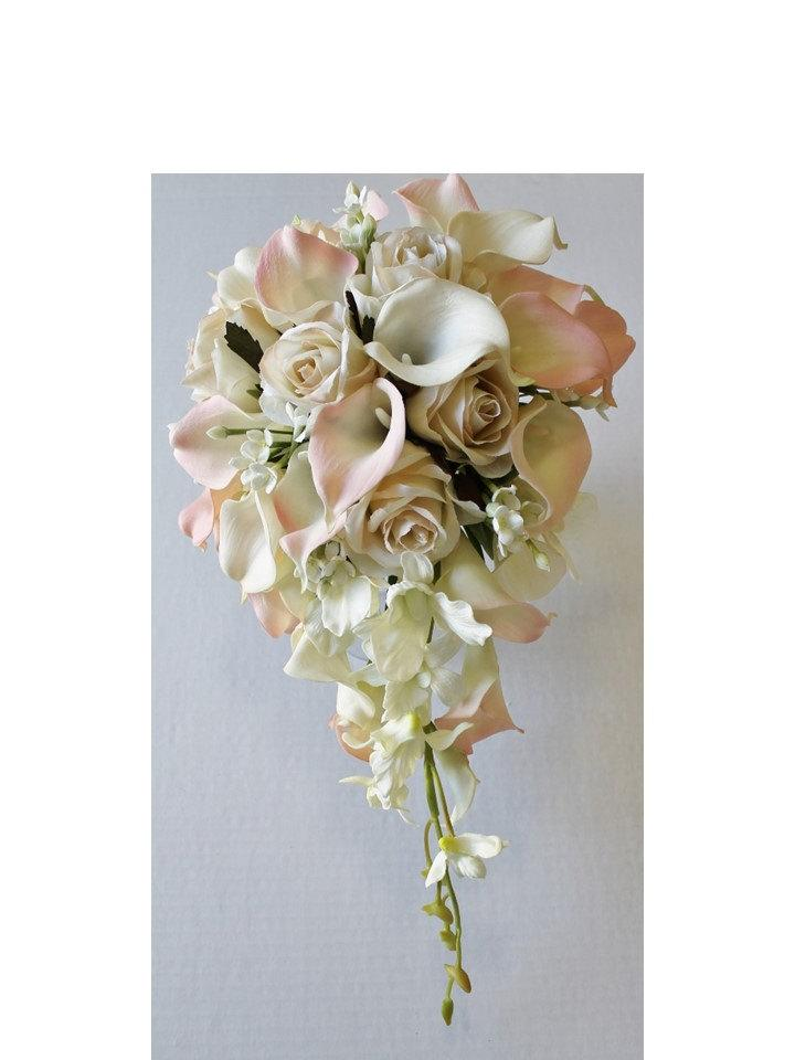 Wedding - Cascade Wedding Calla Lily Bouquet Ivory Blush Bouquet Bridal Bouquet Real Touch Blush Calla Lily Bridal Bouquet Wedding  Bouquets