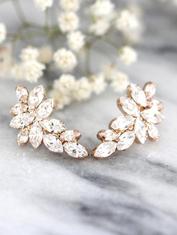 Wedding - Bridal Rose Gold earrings,Swarovski Crystal Climbing earrings,Bridal Cluster Studs,Swarovski Bridal earrings,White Crystal Vintage Earrings3