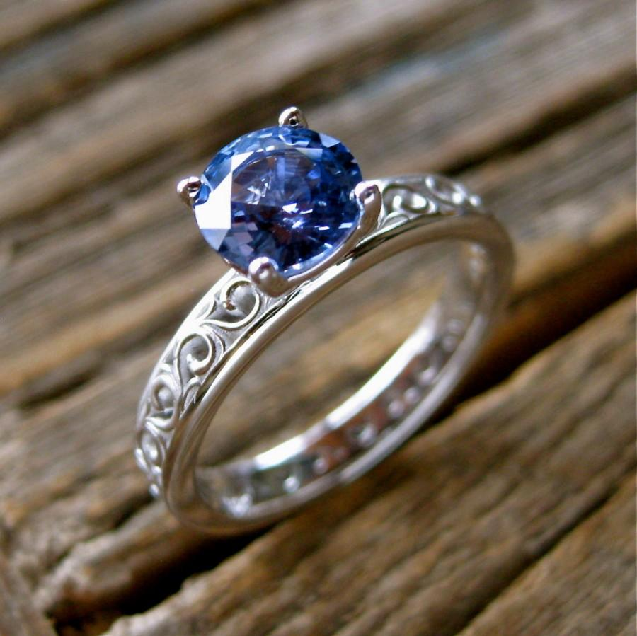 Light Blue Sapphire Engagement Ring In 18K White Gold With Floral Scroll Patt