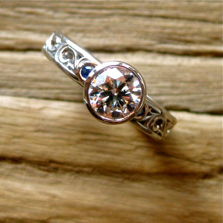 Wedding - Diamond Engagement Ring in Palladium with Blue Sapphires and Floral Scroll Motif Size 4