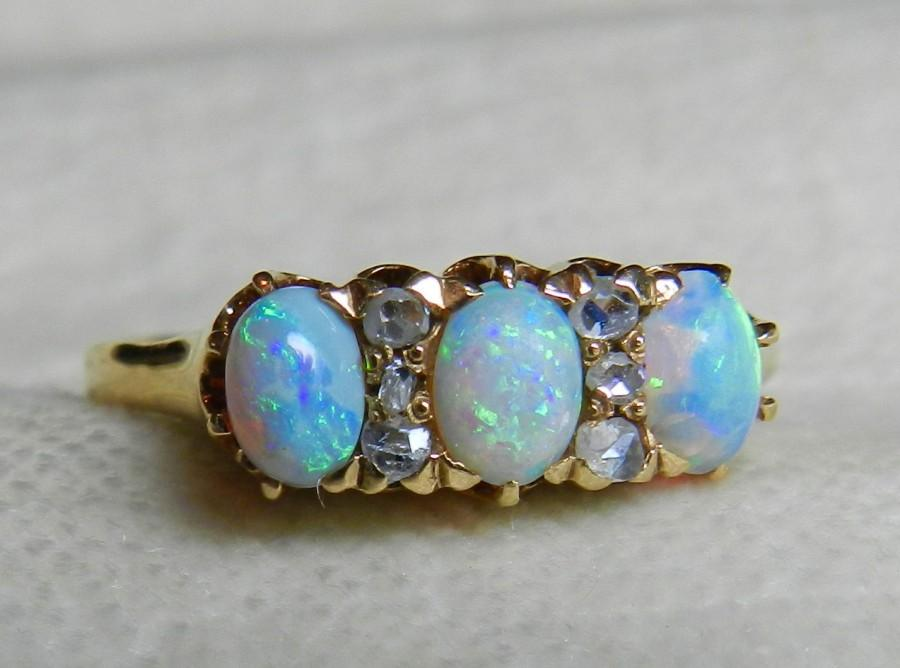 Antique Opal Enement Rings | Opal Ring Mine Cut Diamond Opal Engagement Ring Australian Blue Opal