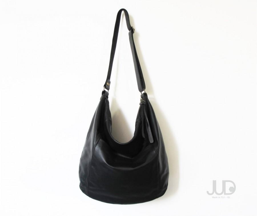 Black Leather Bag SALE Leather Hobo Bag - Soft Leather Bag - Large ...