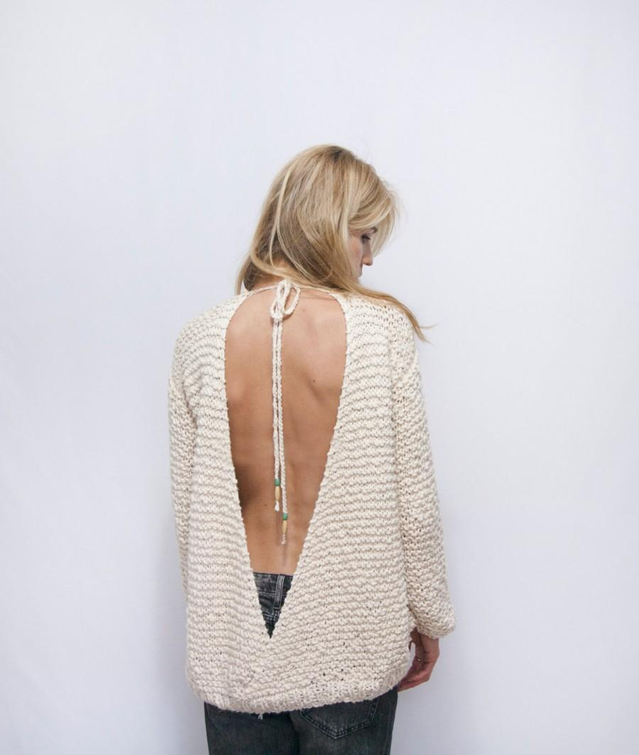 Open Back Knitted Sweater - Cotton Off The Shoulder Sweater - Boho ...