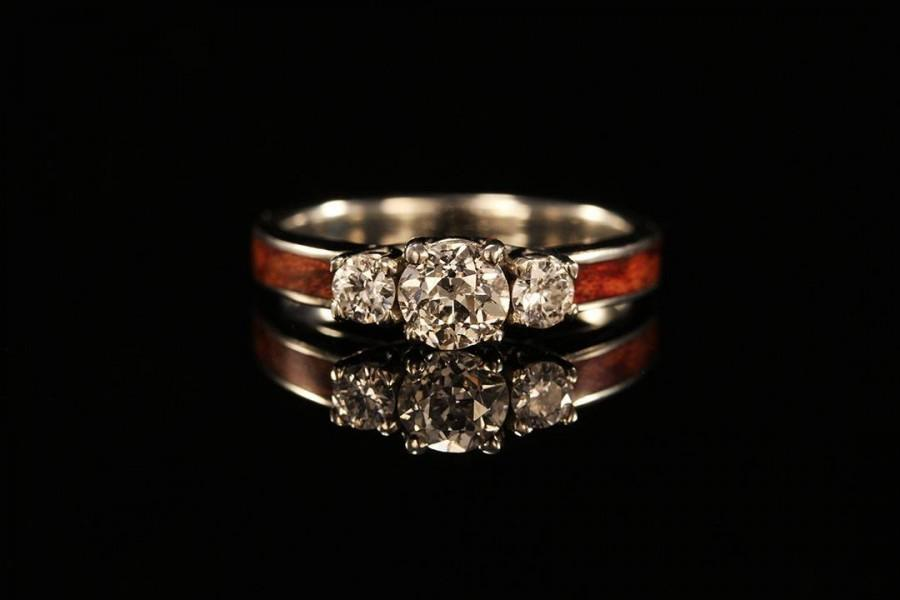 Wedding - 3 Stone Wooden Engagement Ring