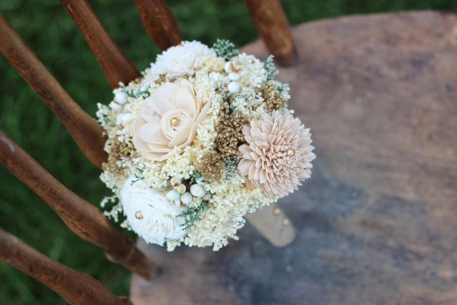 Wedding - Romantic Wedding Bouquet, Bridesmaids Bouquet,Tan,Ivory,Gold Sola Flower Bouquet,Keepsake,Alternative Bouquet