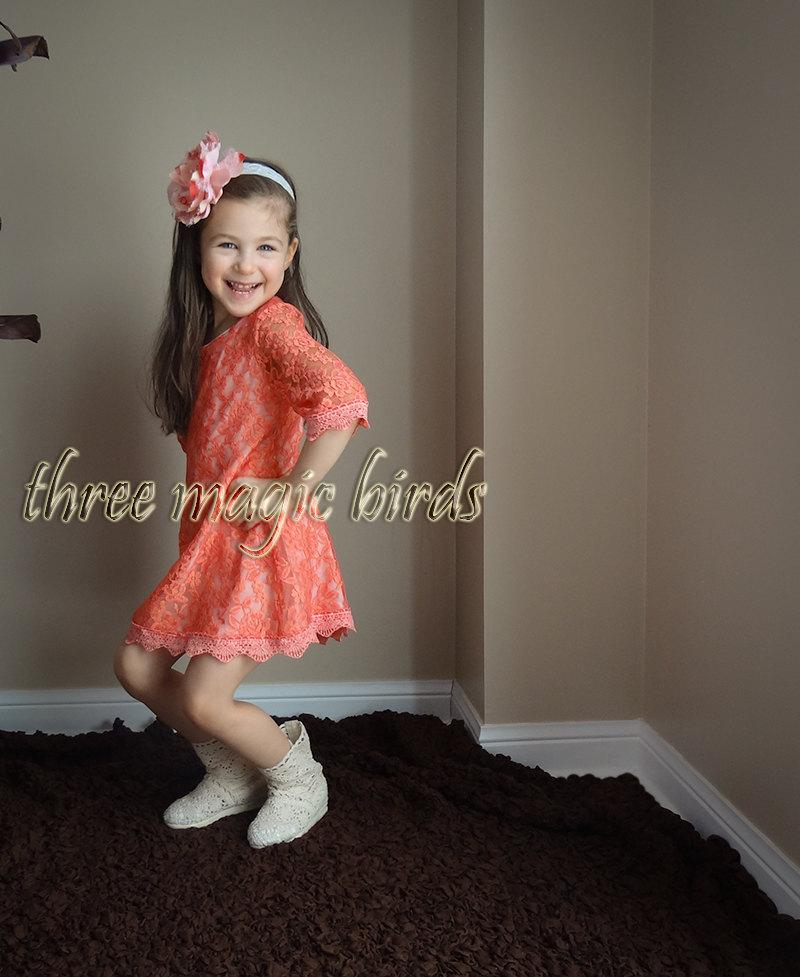 Wedding - Girl's Mini Dress, Coral Lace Dress, Summer Dresses for Girls