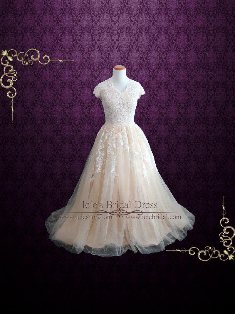 Düğün - Modest Champagne Lace Ball Gown Wedding Dress with Cap Sleeves, Modest Wedding Dress, Lace Wedding Dress, Princess Wedding Dress