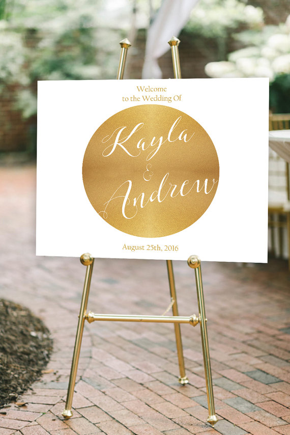 Modern Wedding Welcome Sign Printable Gold Wedding
