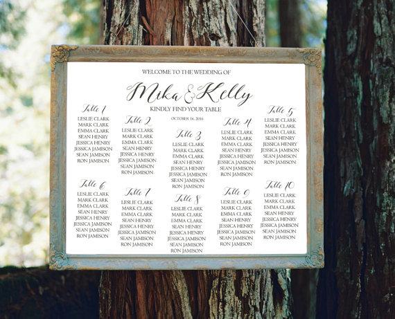 wedding seating chart sign printable modern seating chart sign