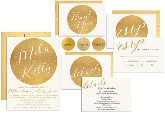 Mariage - Gold Wedding Invitation Suite Printable, Metallic Wedding Invite, Wedding Invitation set, Template, Gold Glitter, Modern, DIY, Digital