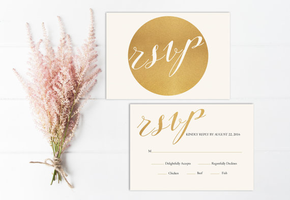 Свадьба - Modern Wedding RSVP Card Printable, Gold rsvp Insert, Rsvp Card PDF, Gold Wedding Rsvp Card, Digital, Wedding Invitation Suite, DIY, Circle
