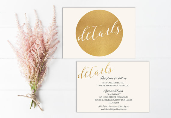 Свадьба - Modern Wedding Detail Card Printable, Gold Wedding Detail Insert, PDF, Gold Detail Card, Gold Glitter, Wedding Invitation, Circle, DIY