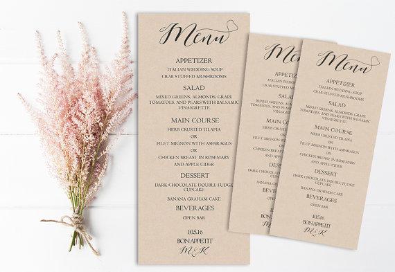rustic wedding menu printable wedding menu kraft wedding menu