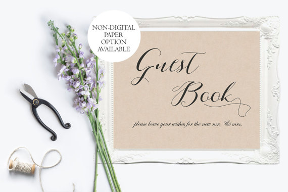 Printed Rustic Guest Book Wedding Sign Kraft Print Ideas Barn